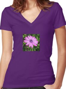 Single Pink African Daisy Against Green Foliage Women's Fitted V-Neck T-Shirt