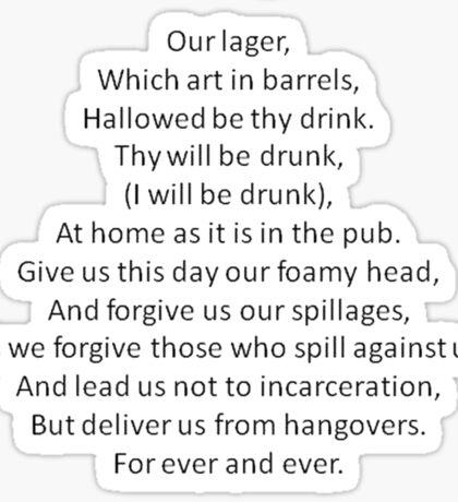 Barmen - Parody of the Lord's Prayer Sticker