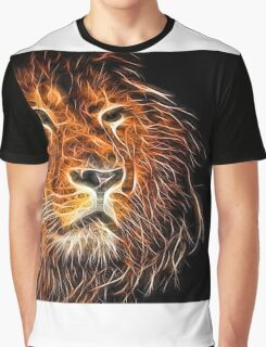Neon Strong Proud Lion on Black Graphic T-Shirt