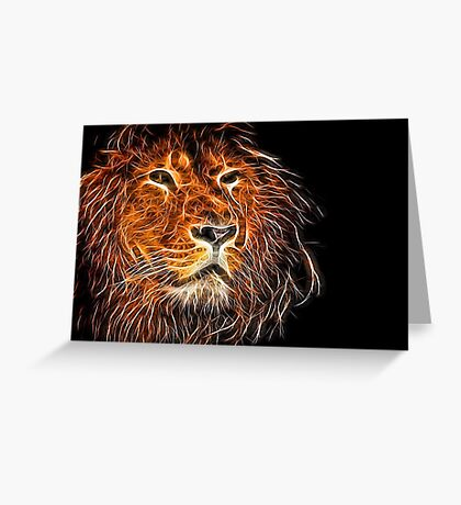 Neon Strong Proud Lion on Black Greeting Card