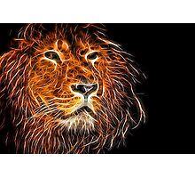 Neon Strong Proud Lion on Black Photographic Print