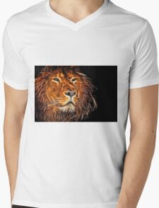 Neon Strong Proud Lion on Black Mens V-Neck T-Shirt