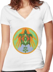 Hands Turtle Women's Fitted V-Neck T-Shirt