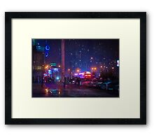 Bladerunner Style Neon Urban City Oil Framed Print