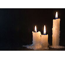 Three White Candles Burning at Night Time Photographic Print