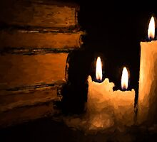 Three Lit White Candles and Old Books by NeonAbstracts