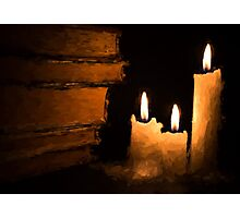 Three Lit White Candles and Old Books Photographic Print