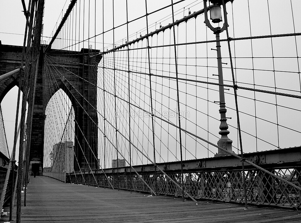Brooklyn bridge new york city black and white by for Brooklyn bridge black and white wall mural