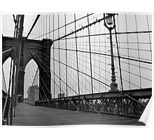 Brooklyn Bridge, New York City (Black and White) Poster
