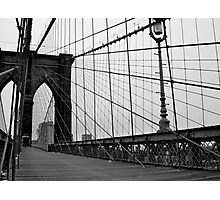 Brooklyn Bridge, New York City (Black and White) Photographic Print