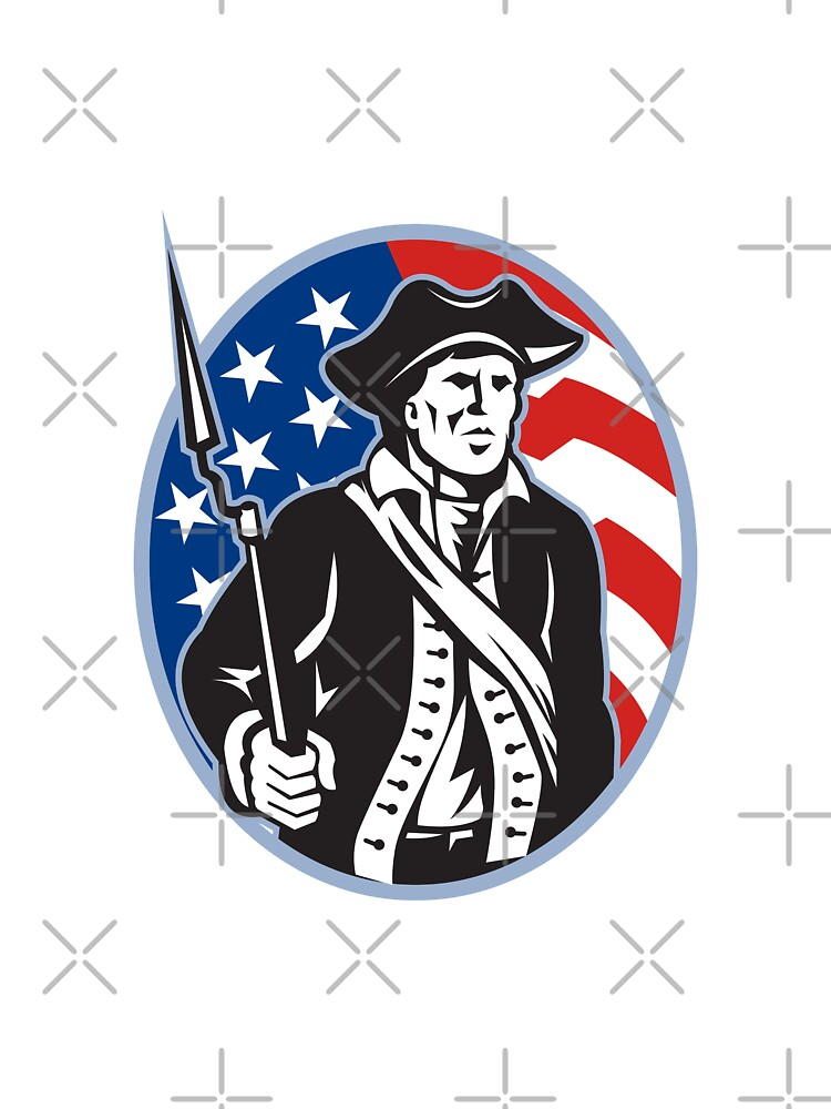 American Patriot Minuteman With Bayonet Rifle And Flag by patrimonio