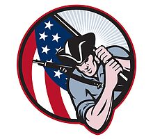 American Patriot Minuteman With Flag by patrimonio
