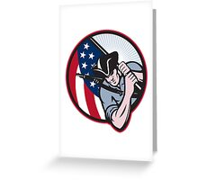 American Patriot Minuteman With Flag Greeting Card