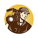 Cameraman Film Crew Pro Video Movie Camera by patrimonio