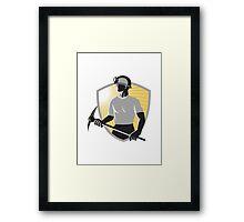 Coal Miner With Pick Ax Shield Retro Framed Print