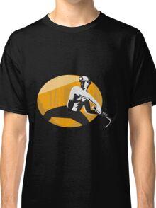 Coal Miner With Pick Ax Striking Retro Classic T-Shirt
