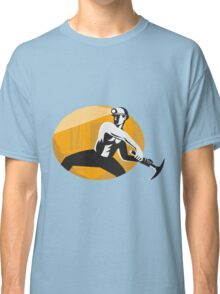 Coal Miner With Pick Ax Striking Retro Classic T-Shirt