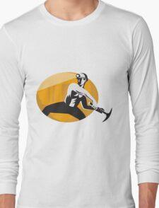 Coal Miner With Pick Ax Striking Retro Long Sleeve T-Shirt