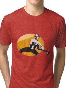 Coal Miner With Pick Ax Striking Retro Tri-blend T-Shirt
