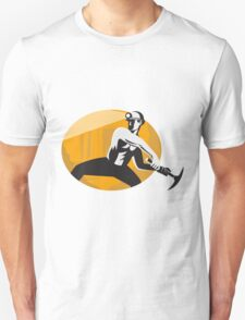 Coal Miner With Pick Ax Striking Retro Unisex T-Shirt