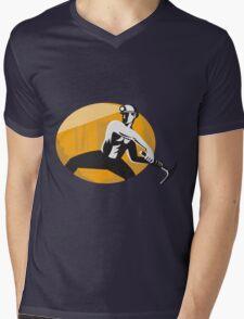 Coal Miner With Pick Ax Striking Retro Mens V-Neck T-Shirt