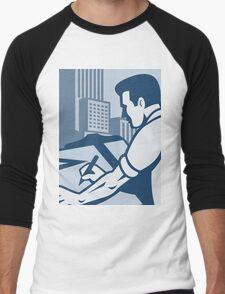 Architect Draftsman Drawing Buildings Retro Men's Baseball ¾ T-Shirt