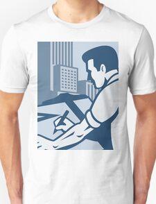 Architect Draftsman Drawing Buildings Retro Unisex T-Shirt