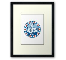 Barber With Clipper Hair Cutter and Scissors Framed Print