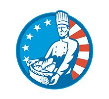 American Chef Baker Cook With Basket Loaf Bread by patrimonio