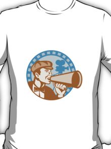 Movie Film Director With Bullhorn And Camera Retro T-Shirt