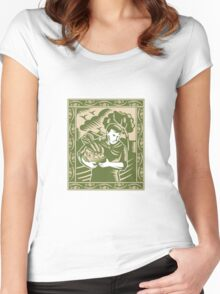 Organic Farmer With Basket Harvest Crops Retro Women's Fitted Scoop T-Shirt