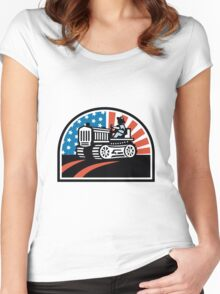 American Farmer Riding Vintage Tractor Women's Fitted Scoop T-Shirt