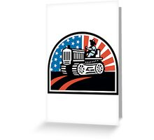 American Farmer Riding Vintage Tractor Greeting Card