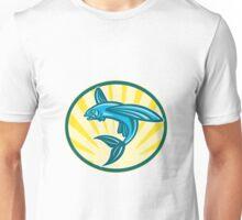 Flying Fish Jumping Retro Woodcut Unisex T-Shirt
