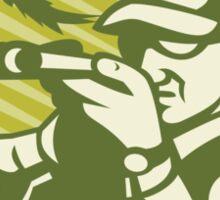 Hunter Aiming Shotgun Rifle With Pheasant Bird Sticker