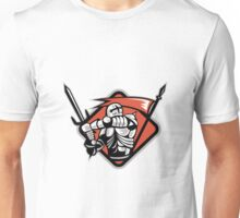 Knight Crusader With Sword Flag Retro Unisex T-Shirt
