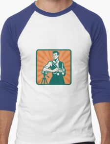 Photographer With DSLR Camera and Video Retro Men's Baseball ¾ T-Shirt