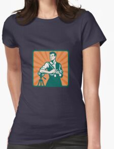 Photographer With DSLR Camera and Video Retro Womens Fitted T-Shirt