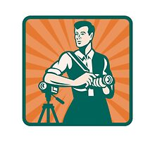 Photographer With DSLR Camera and Video Retro by patrimonio