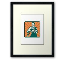 Photographer With DSLR Camera and Video Retro Framed Print