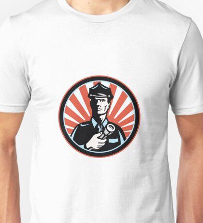Policeman Security Guard With Flashlight Retro Unisex T-Shirt