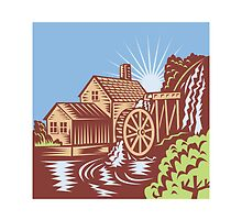 Water Wheel Mill House Retro by patrimonio