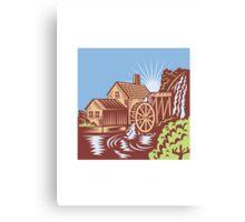 Water Wheel Mill House Retro Canvas Print