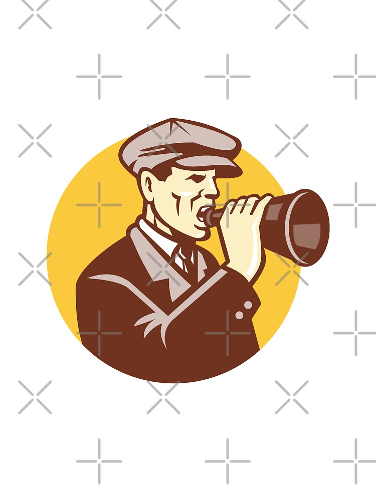 Man Shouting With Vintage Bullhorn Retro by patrimonio