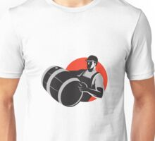 Man Carrying Wine Barrel Cask Keg Retro Unisex T-Shirt