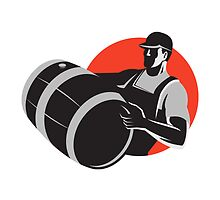 Man Carrying Wine Barrel Cask Keg Retro by patrimonio