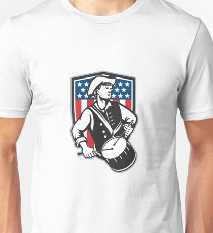 American Patriot Drummer With Flag Unisex T-Shirt