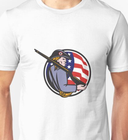 American Patriot Minuteman With Rifle And Flag Unisex T-Shirt