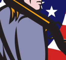 American Patriot Minuteman With Rifle And Flag Sticker