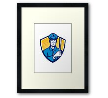 Policeman Police Officer Baton Shield Retro Framed Print